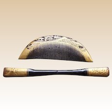 Vintage Japanese hair comb hairpin kanzashi lacquer hair accessory (ABS)