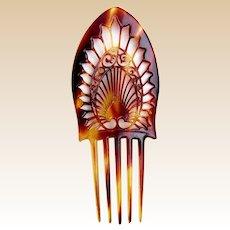 Art Deco hair comb celluloid faux tortoiseshell Spanish style hair accessory