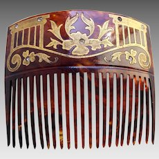 Late Victorian hair comb faux tortoiseshell with gilded decoration hair accessory