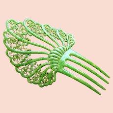 Art Deco hair comb jade green marble effect celluloid hair accessory