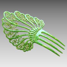 Art Deco hair comb jade green marble effect celluloid hair accessory
