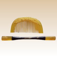 Vintage Japnese kanzashi hair comb hair pin set Geisha hair accessory (ACD)