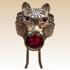 Unusual hair comb or pin figural lion's head hair accessory
