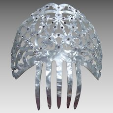Vintage hair comb mid century Spanish mantilla comb mother of pearl effect (ABD)