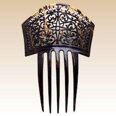 Victorian hair comb pierced faux tortoiseshell Spanish style hair accessory