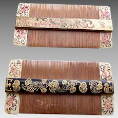 Two Chinese painted wood and bamboo vanity combs