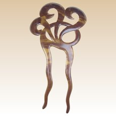 Late Victorian hair comb celluloid faux tortoiseshell hair accessory