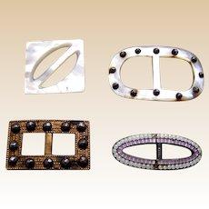 Miniature belt buckles for dolls mother of pearl cut steel enamel