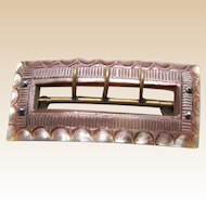Victorian belt buckle carved mother of pearl