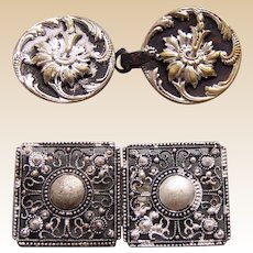 Two Art Nouveau belt buckles or clasps in silver tone metal