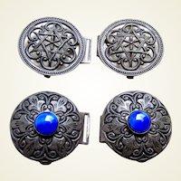 2 Art Nouveau belt buckles or clasps in dark patina metal glass stones