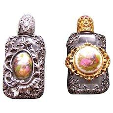 Two Czech miniature glass scent bottles suitable dolls (AAB)