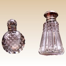 Two miniature sterling silver topped cut glass scent  bottles English  dolls (AAC)