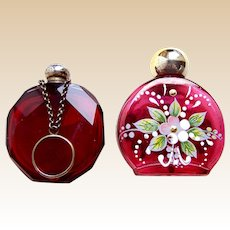 Two miniature glass scent or perfume bottles ruby glass suitable dolls (AAF)