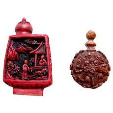 Two miniature scent or perfume bottles Oriental cinnebar style (AAG)