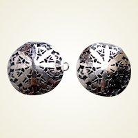 Art Nouveau belt buckle or clasp pierced silver tone metal