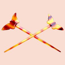 2 Faux tortoiseshell hair sticks with butterfly design hair accessory