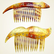 Two mid century faux tortoiseshell side combs hair accessories