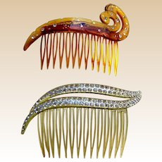Two mid century rhinestone side combs hair accessories