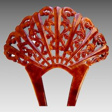 Art Deco hair comb faux tortoiseshell fan shaped hair accessory