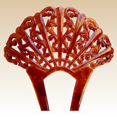 Art Deco hair comb faux tortoiseshell fan shaped hair accessory