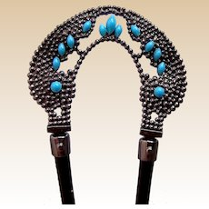 Late Victorian hair comb with faux turquoise trim hair accessory