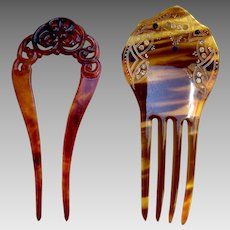 Two late Victorian hair combs celluloid faux tortoiseshell hair ornaments