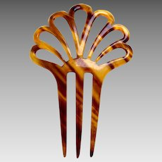 Art Deco hair comb celluloid faux tortoiseshell sunray design