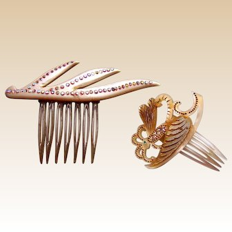 2 Mother of pearl effect hair combs mid century 1950s - 1960s