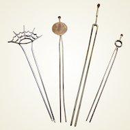 4 vintage Japanese kanzashi style hair pins in silver tone metal