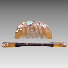 Vintage Japanese comb and hair pin set blonde mother of pearl inlay (AER)