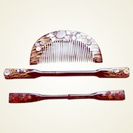 Vintage Japanese comb and hair pin set mother of pearl inlay (AET)