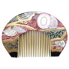 Vintage Japanese comb lacquer with mother of pearl inlay hair accessory (AEW)