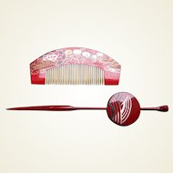 Vintage Japanese comb and hair pin set red gold lacquer (AFA)