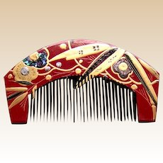 Vintage Japanese comb and hair pin set red gold lacquer (AFB)