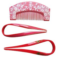 Vintage Japanese comb and hair pin set red lacquer hair accessories (AFL)