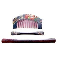 3 vintage Japanese hair combs and hair pins geisha hair accessory set (AFV)