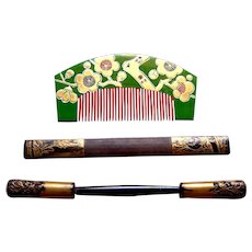 3 vintage Japanese hair combs and hair pins geisha hair accessory set (AFW)