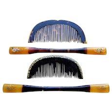 4 vintage Japanese hair combs and hair pins geisha hair accessory set (AFX)