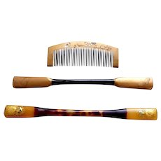 3 vintage Japanese hair combs and hair pins geisha hair accessory set (AFY)
