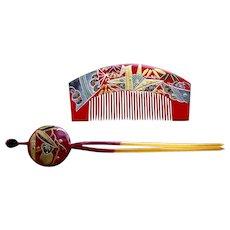 2 vintage Japanese hair accessories hair comb and hair pin geisha set (AGA)