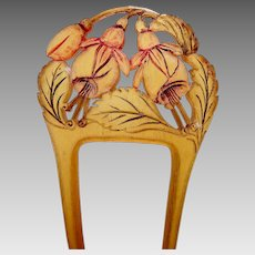 Art Nouveau carved horn hair comb floral design hair accessory