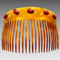 Art Nouveau steer horn back comb with coral cabochons hair ornament