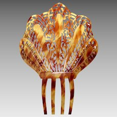 Art Deco Spanish style hair comb faux tortoiseshell mantilla hair accessory