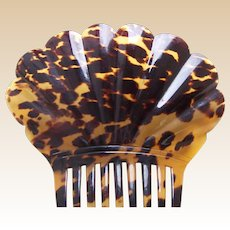 Regency natural pressed tortoiseshell hair comb Spanish style hair ornament