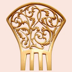 A handsome Spanish style wedge shaped hair comb in French ivory