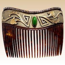 Art Nouveau faux tortoiseshell hair comb faux jade cabochon hair ornament