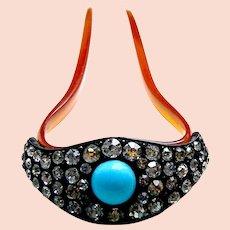 Edwardian steer horn hair pin with rhinestone turquoise trim hair ornament
