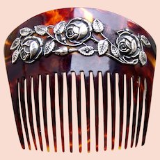 Art Nouveau faux tortoiseshell hair comb asymmetric roses design hair accessory
