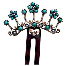 Late Victorian hinged hair comb with turquoises and faux pearls hair ornament